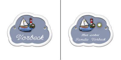 t rschild namensschild schiff leuchtturm blau wolke auf wunsch mit klingelknopf ebay. Black Bedroom Furniture Sets. Home Design Ideas
